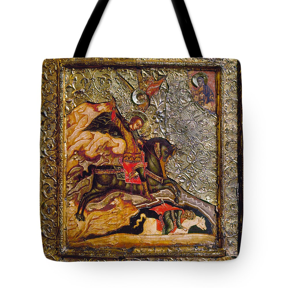 17th Century Tote Bag featuring the photograph Russian Icon: Demetrius by Granger