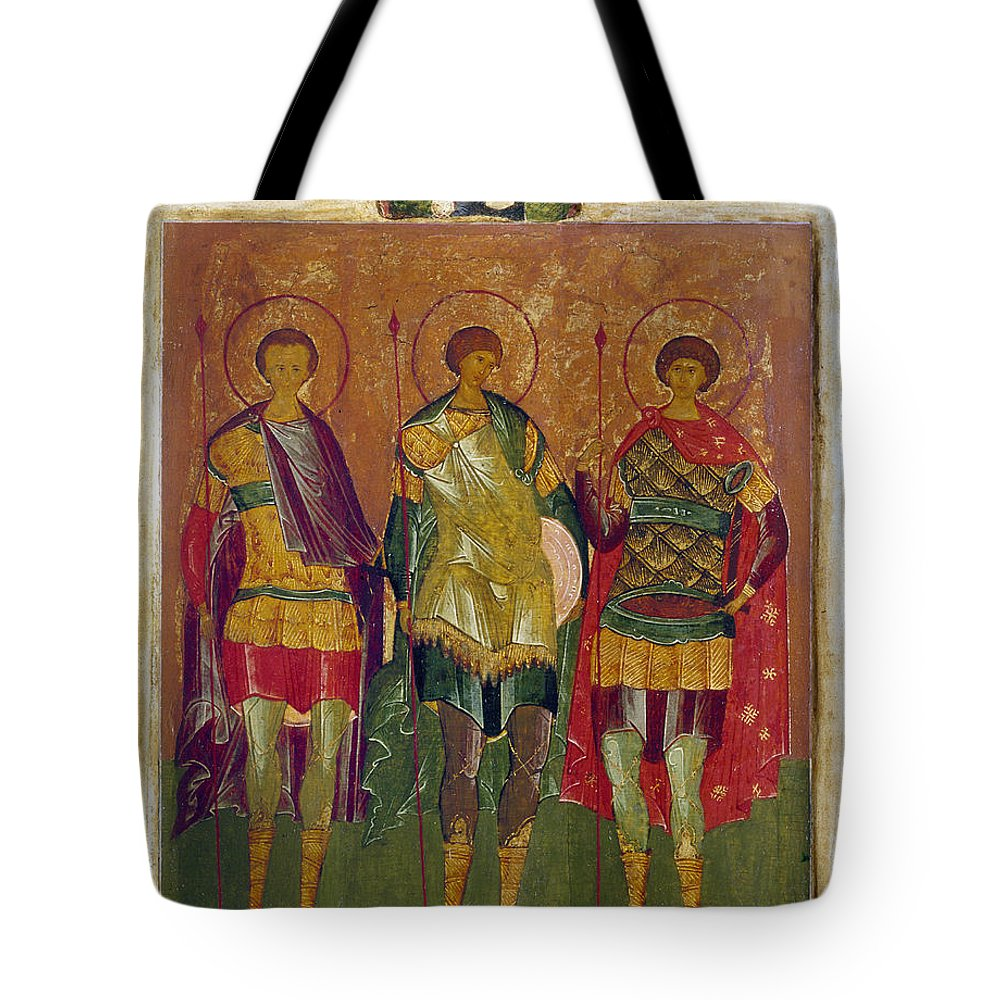 16th Century Tote Bag featuring the photograph Russian Icon: Saints by Granger