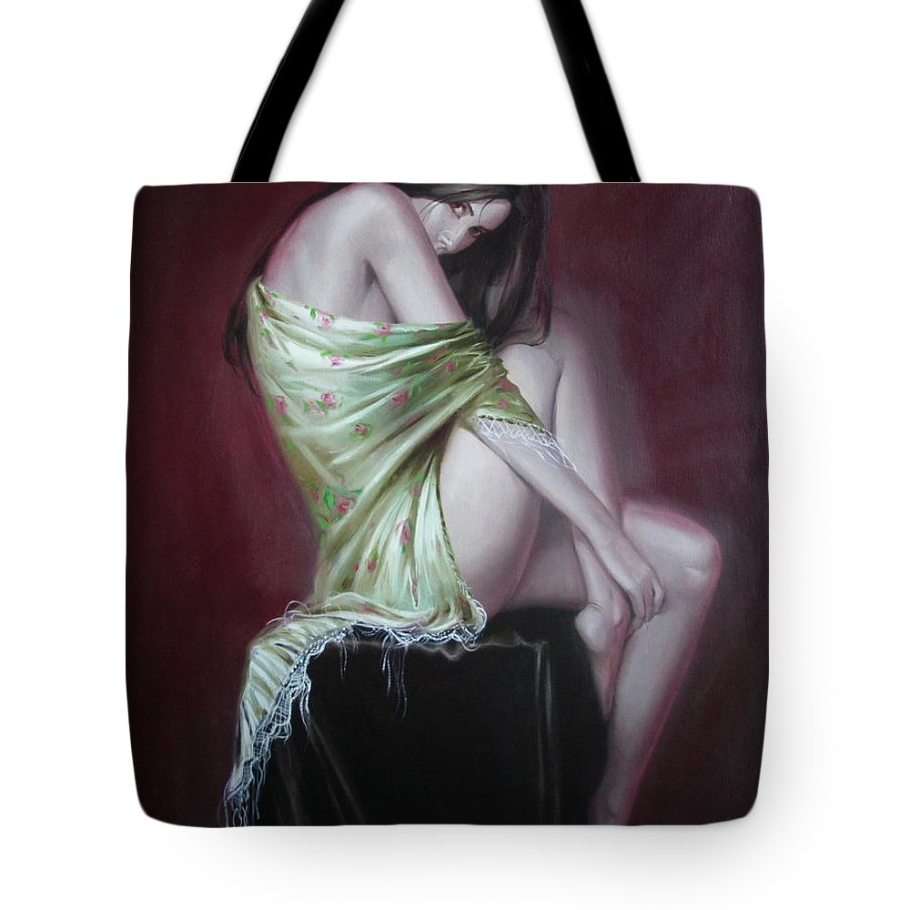 Art Tote Bag featuring the painting Russian Model by Sergey Ignatenko