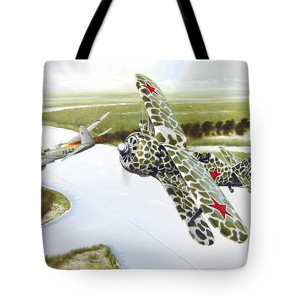 Aviation Tote Bag featuring the painting Russian Roulette by Marc Stewart