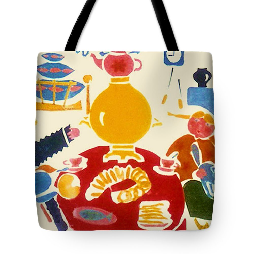 Original Art Tote Bag featuring the greeting card Russian Tea by Rae Chichilnitsky