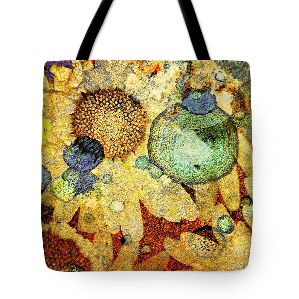 Texture Tote Bag featuring the photograph Rust And Flowers by Tara Turner