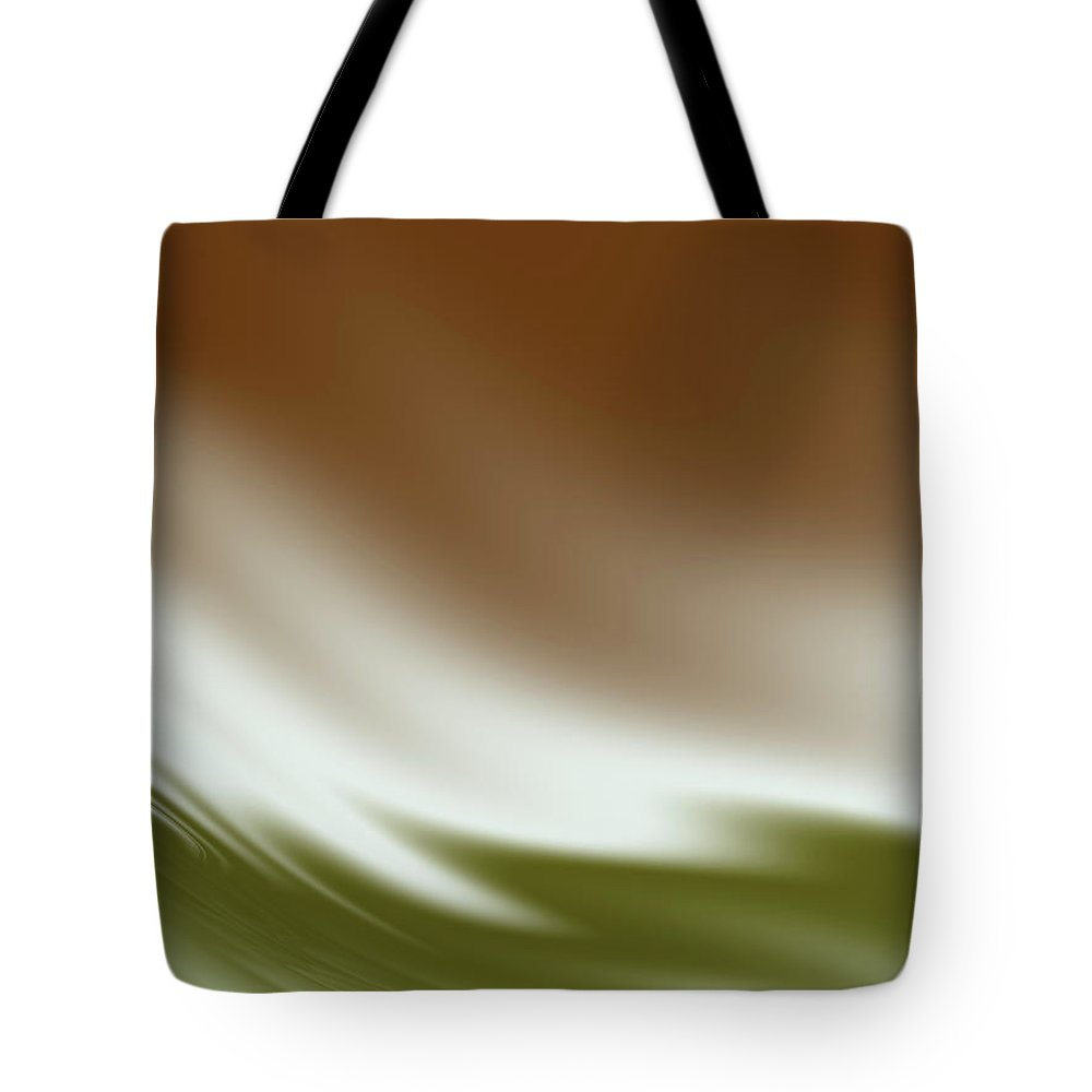 Abstract Tote Bag featuring the digital art Rust And Olive Waves by Rich Leighton