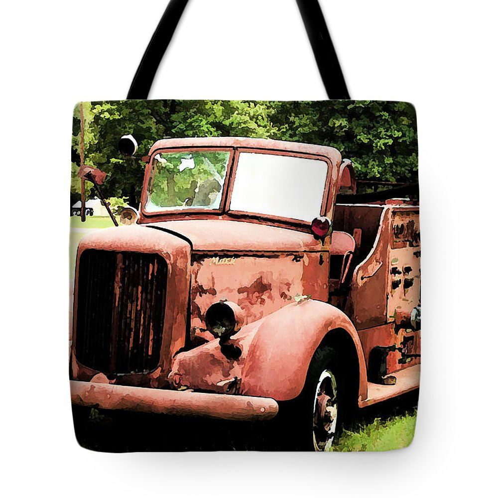 Mack Tote Bag featuring the digital art Rusted Mack Fire Engine by Tommy Anderson