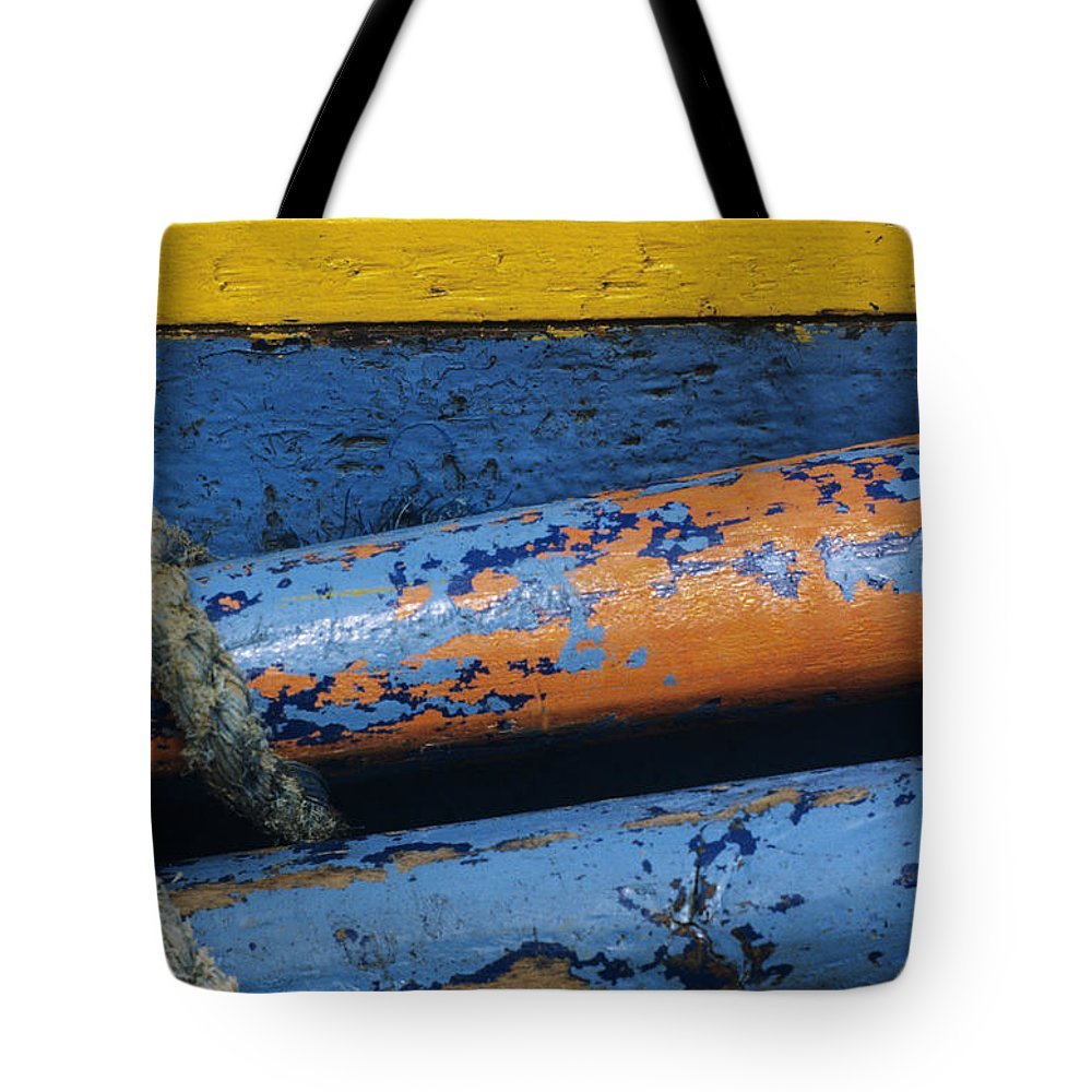Abstract Tote Bag featuring the photograph Rustic Boat by Larry Dale Gordon - Printscapes