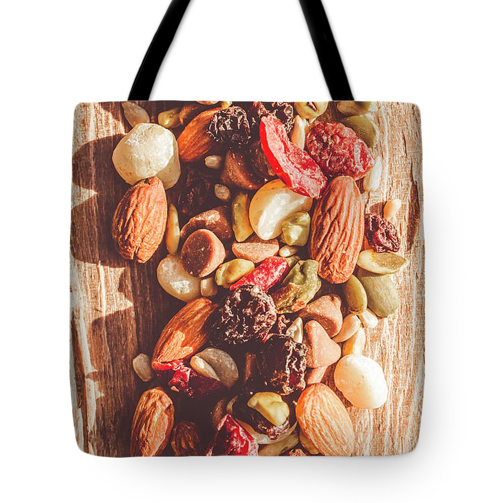 Rustic Tote Bag featuring the photograph Rustic Dried Fruit And Nut Mix by Jorgo Photography - Wall Art Gallery