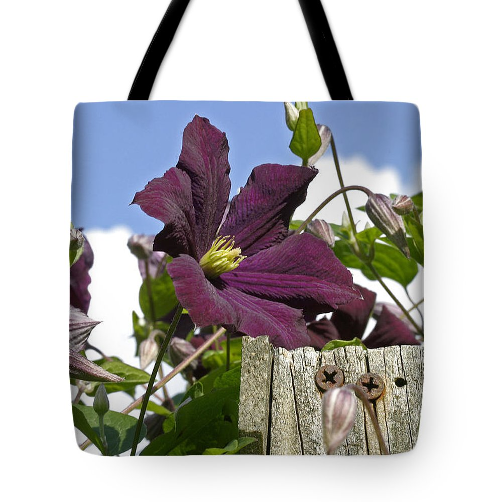 Clematis Tote Bag featuring the photograph Rustic Railing by Edward Kennair