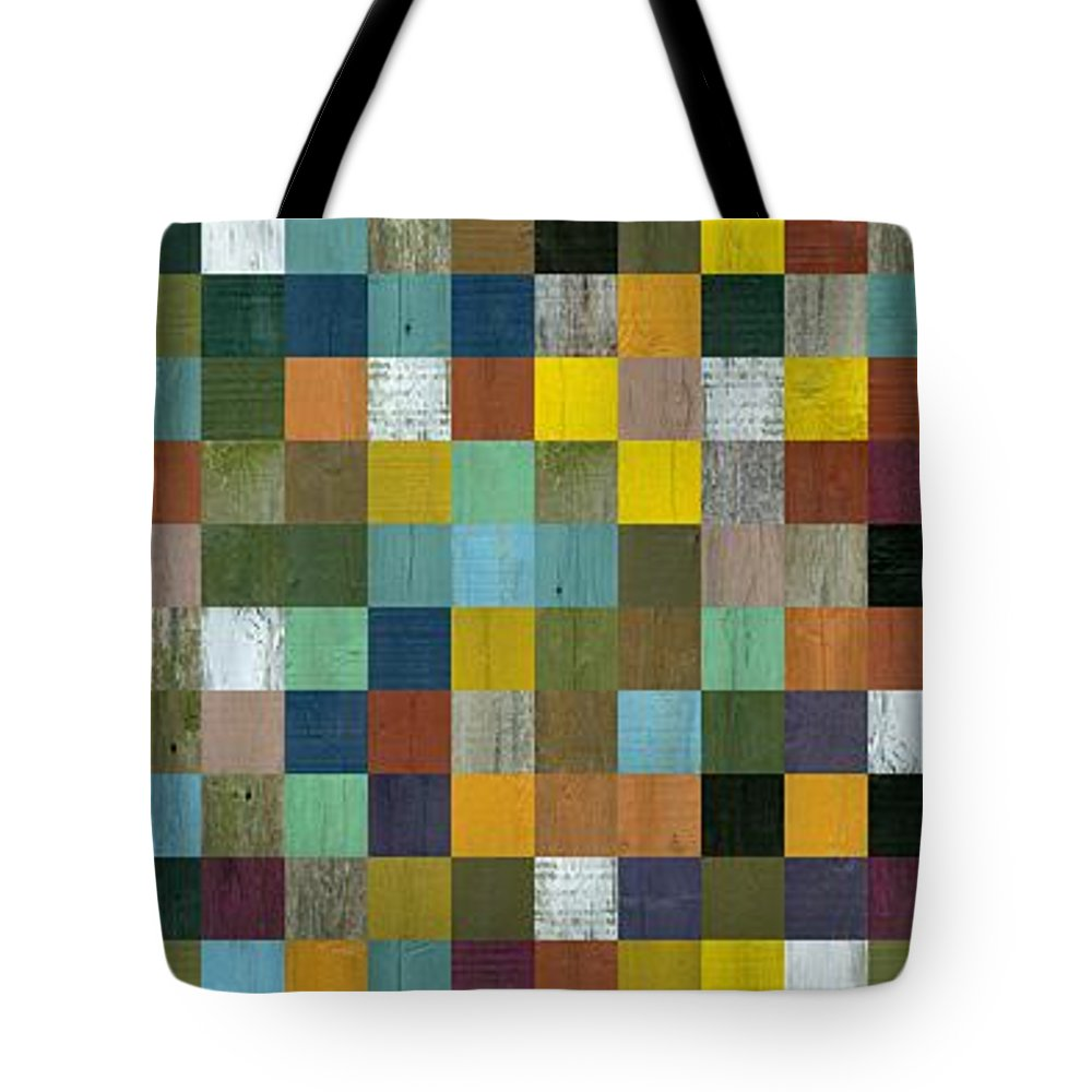 Abstract Tote Bag featuring the digital art Rustic Wooden Abstract Tower by Michelle Calkins