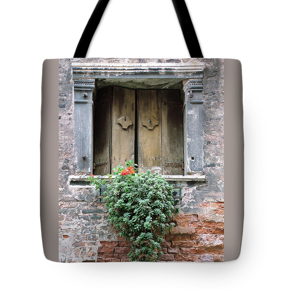 Venice Tote Bag featuring the photograph Rustic Wooden Window Shutters by Donna Corless