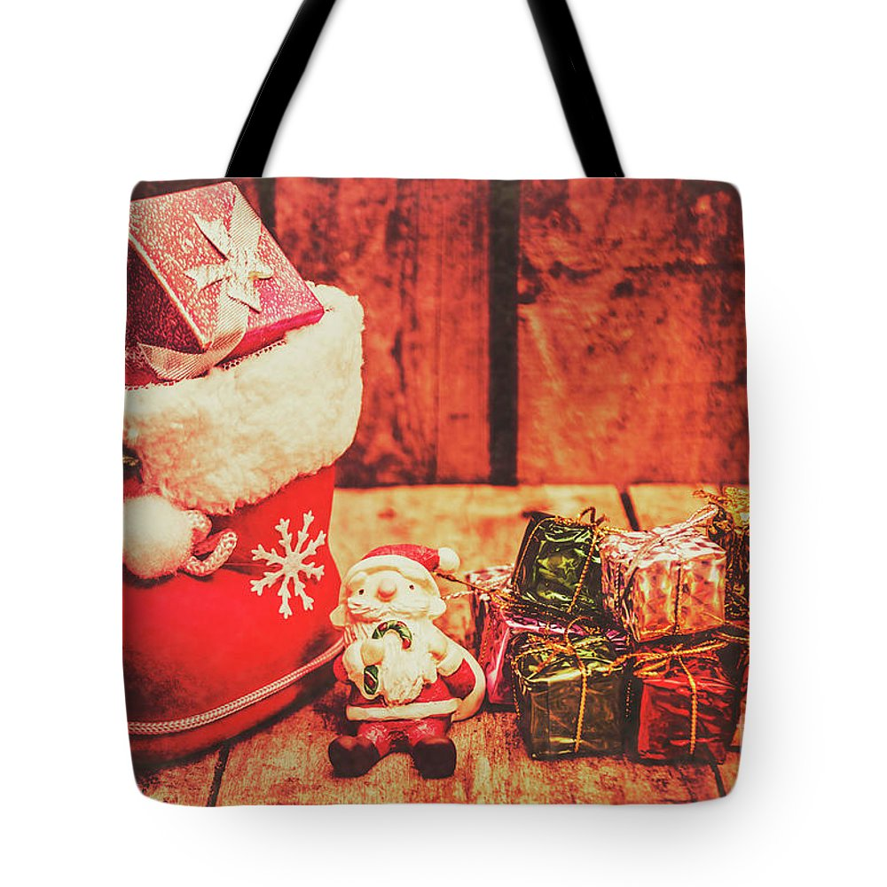 Stocking Tote Bag featuring the photograph Rustic Xmas Decorations by Jorgo Photography - Wall Art Gallery