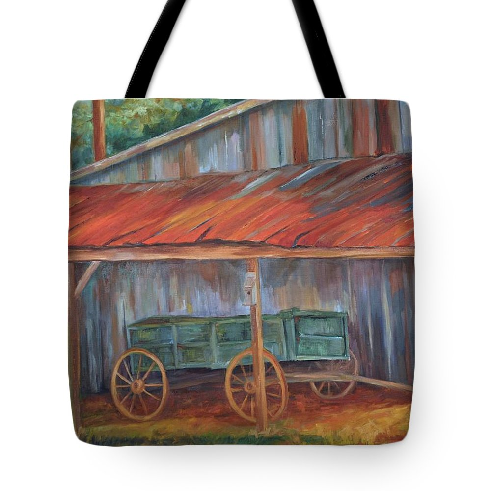 Old Wagons Tote Bag featuring the painting Rustification by Ginger Concepcion
