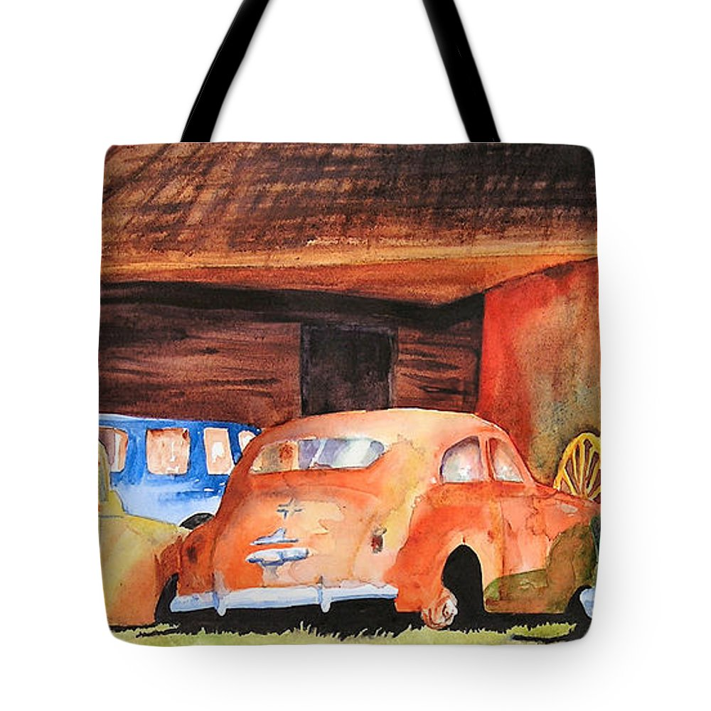 Car Tote Bag featuring the painting Rusting by Karen Stark