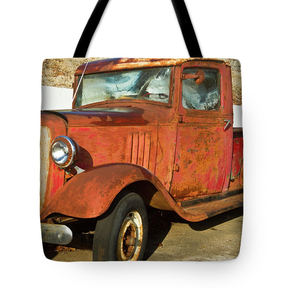 Rusty Tote Bag featuring the photograph Rusty Chevrolet Pickup Truck 1934 by Douglas Barnett