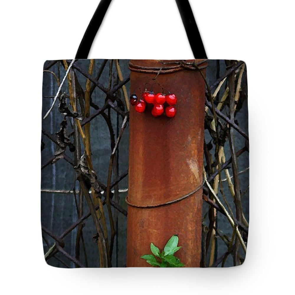 Fence Tote Bag featuring the photograph Rusty Fence by Jeff Breiman