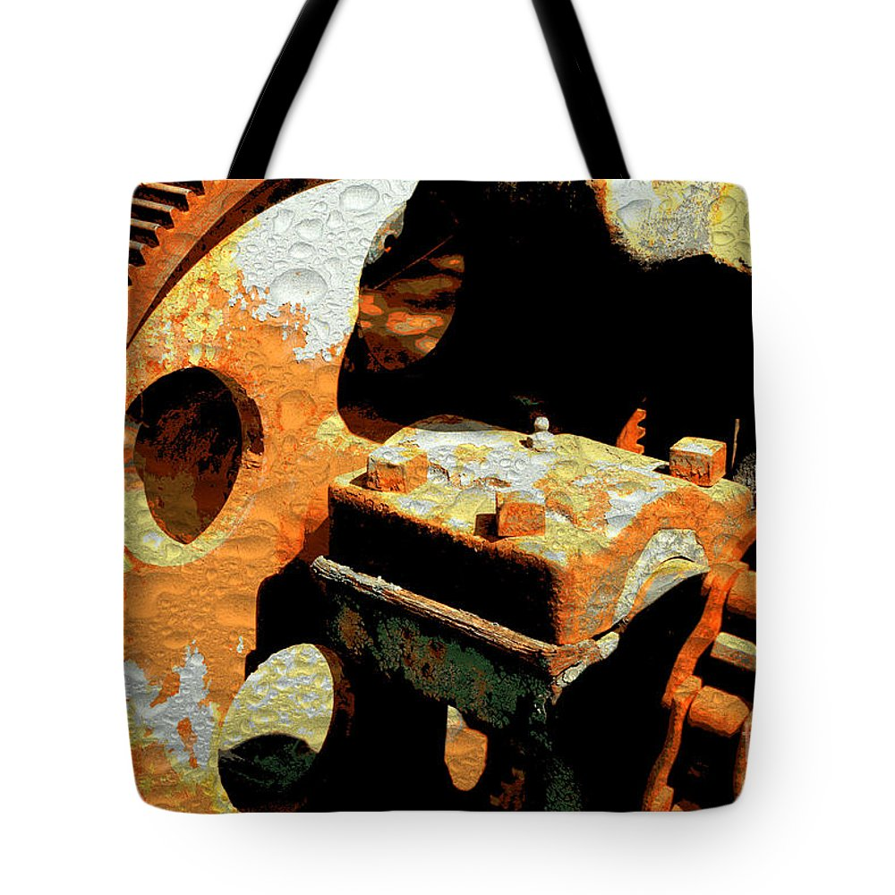 Rusty Tote Bag featuring the photograph Rusty Gears by Carol Groenen
