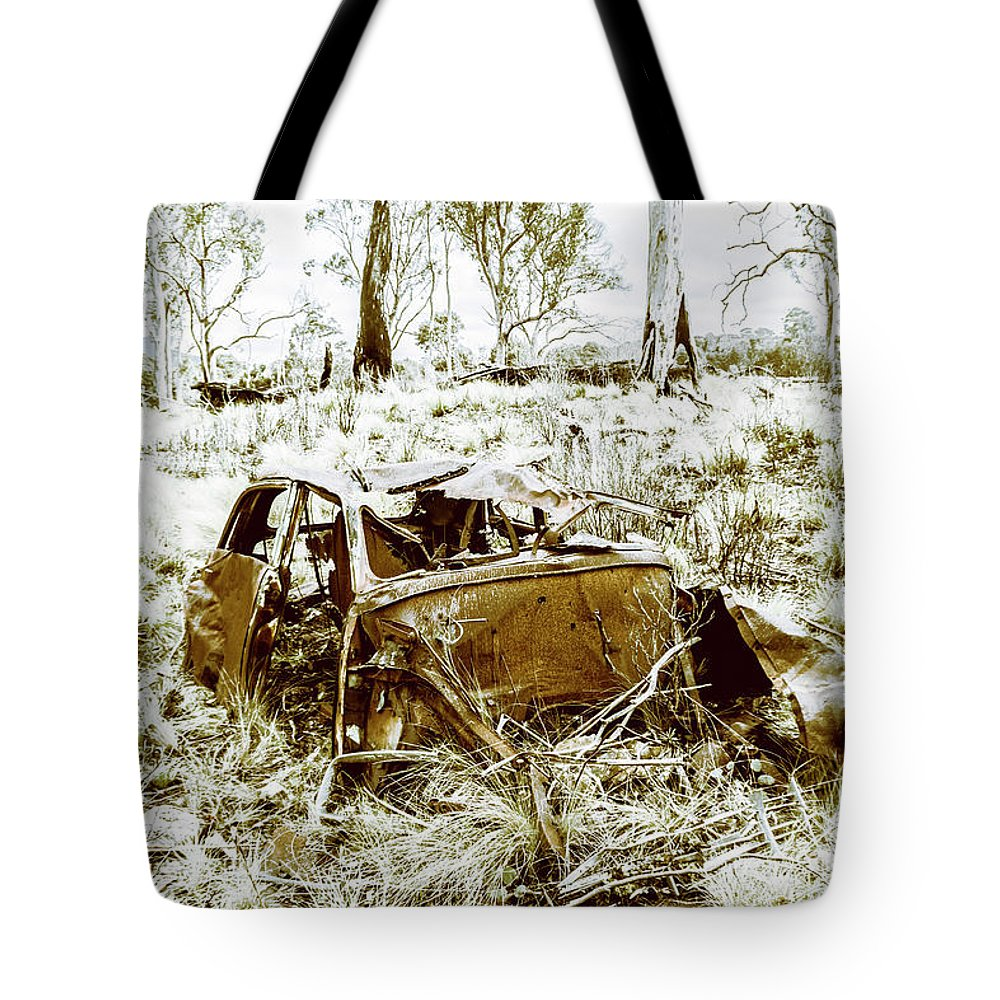 Holden Tote Bag featuring the photograph Rusty Old Holden Car Wreck by Jorgo Photography - Wall Art Gallery
