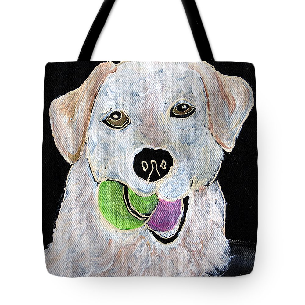 Labrador Tote Bag featuring the painting Rusty On Canvas by Janice Pariza