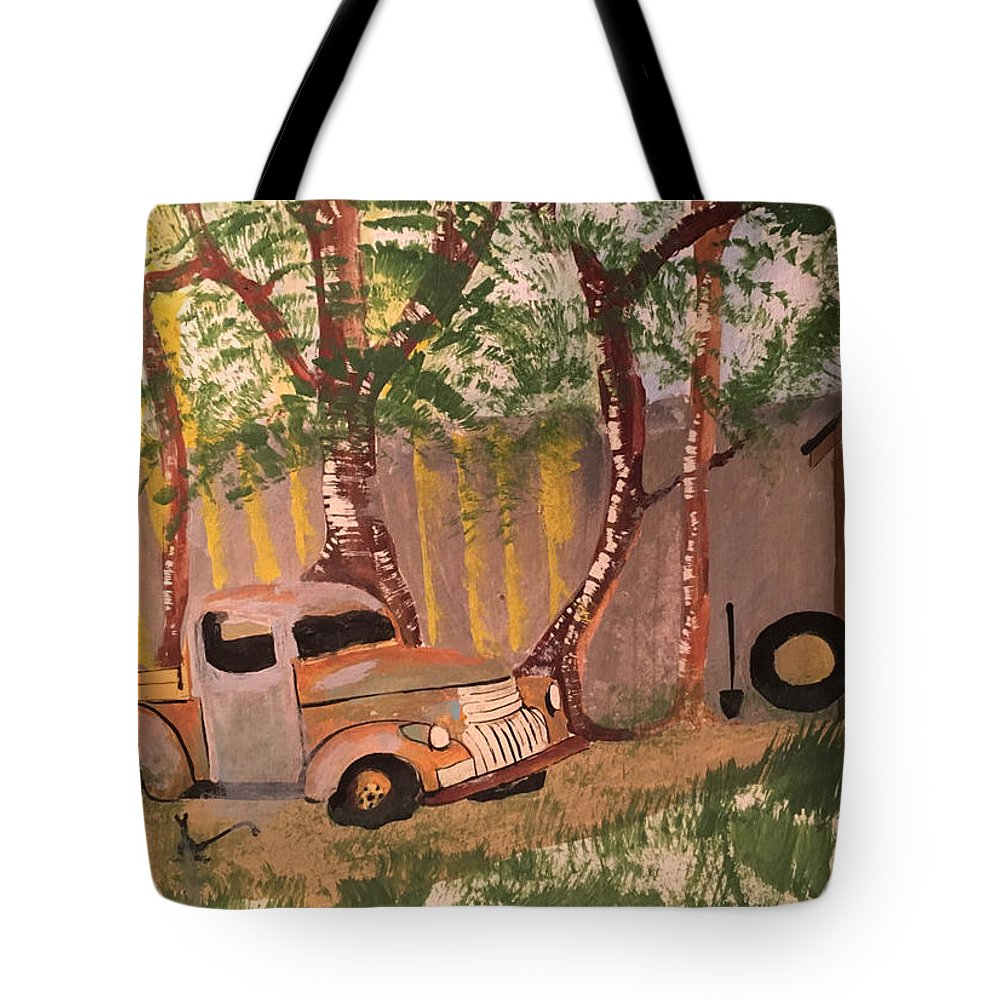 Rusty Truck Tote Bag featuring the painting Rusty Truck by B C