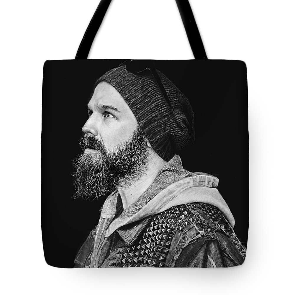 Ryan Hurst Harry 'opie' Winston Sons Of Anarchy Black And White Pencil Portrait Fan Art Tote Bag featuring the drawing Ryan Hurst by Stan Antonio
