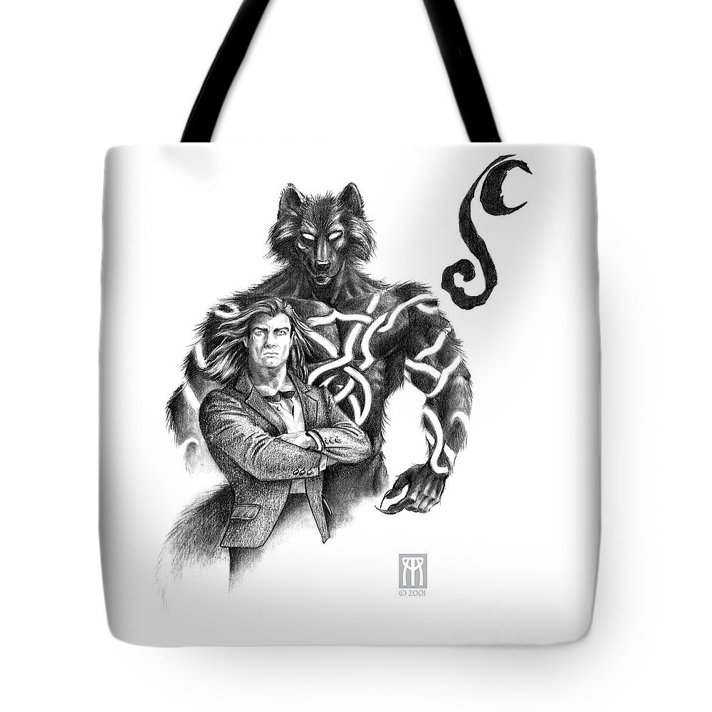Werewolf Tote Bag featuring the drawing Ryan With Werewolf by Melissa A Benson