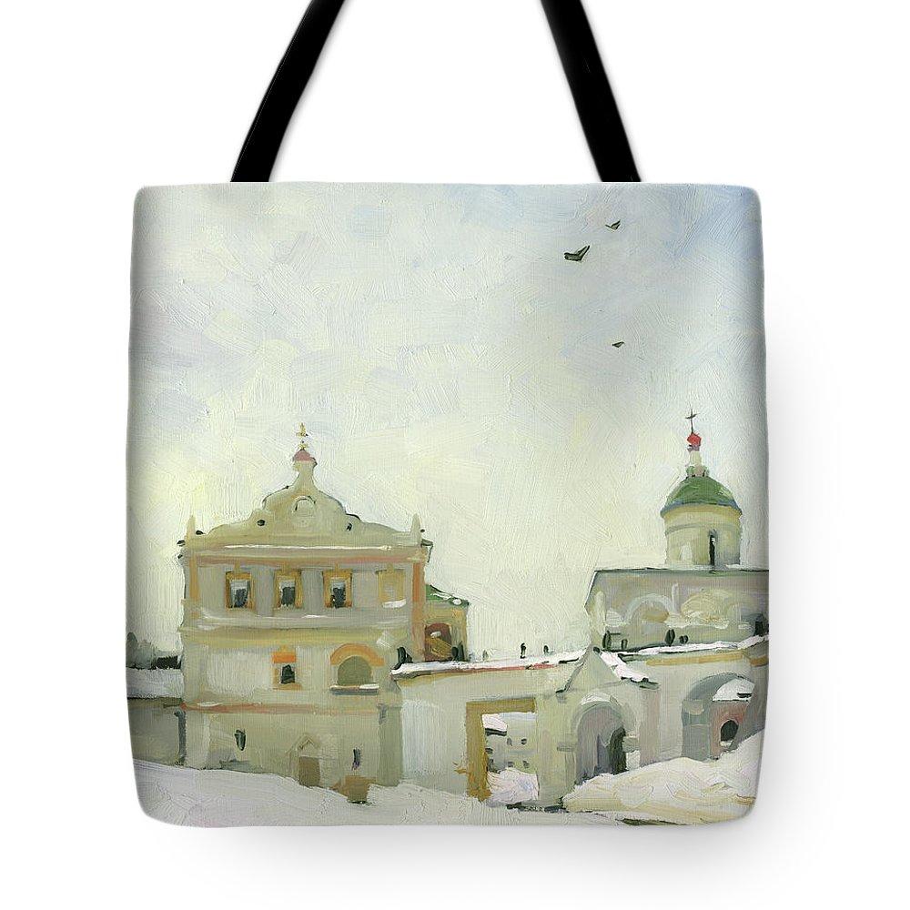 Russia Tote Bag featuring the painting Ryazan Kremlin In Winter by Denis Chernov