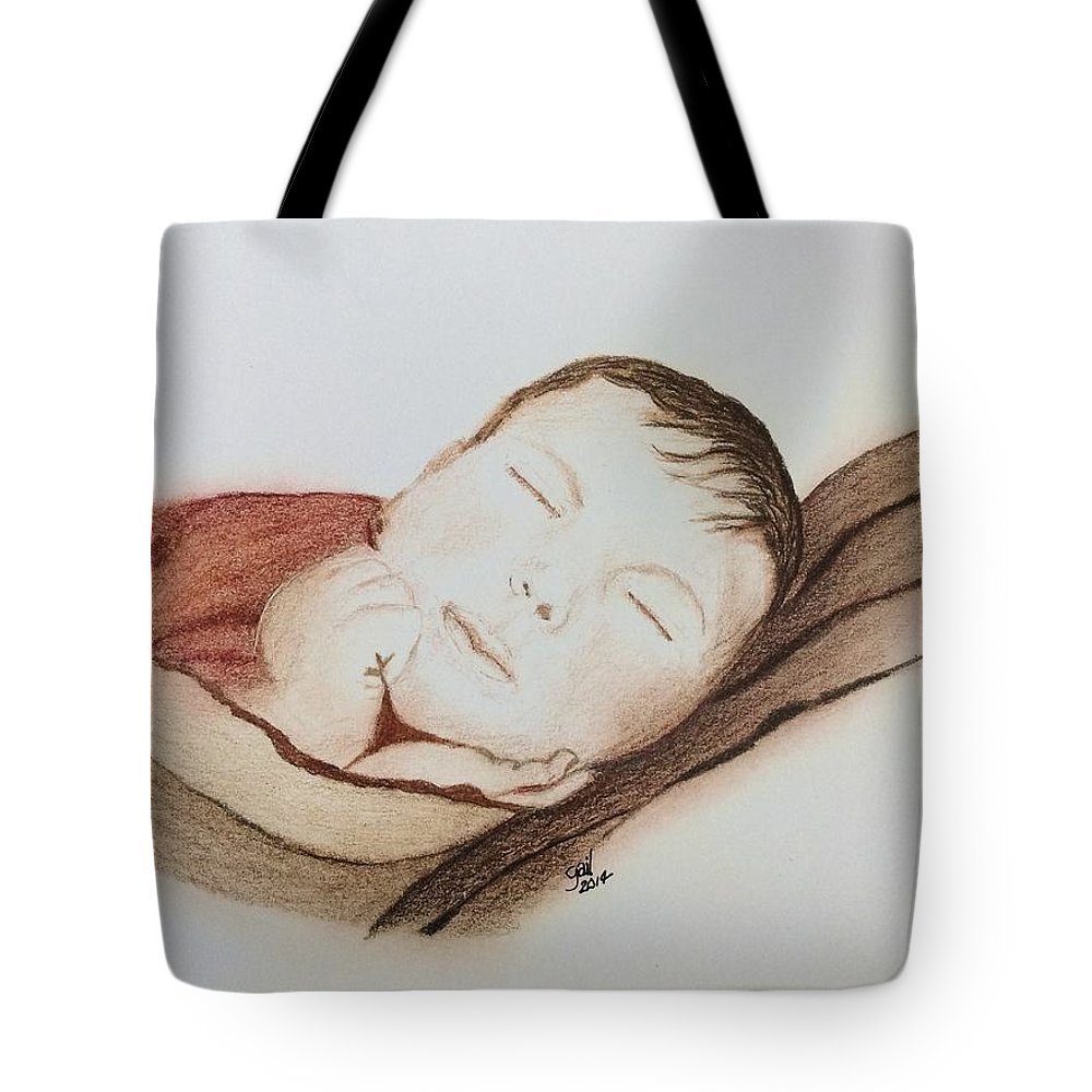 Tote Bag featuring the painting Rylan by Gail Grundberg Judd