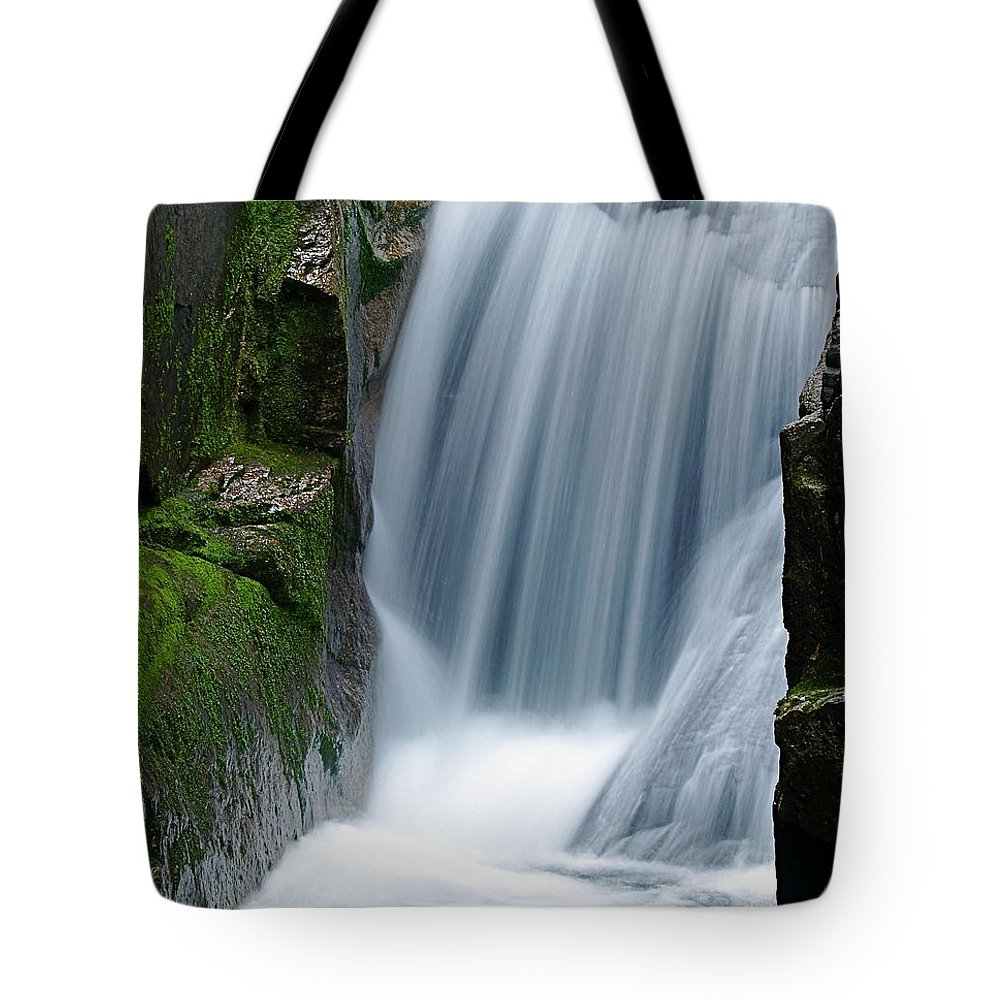 Waterfall Tote Bag featuring the photograph Sabbaday Falls by Peter Gray