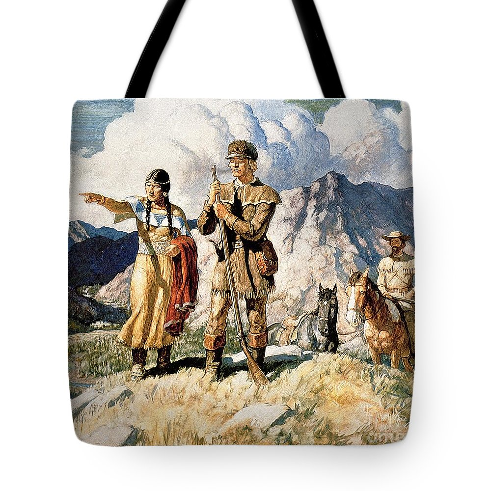 First; Uniform; Traditional Costume; Clothing; Shoshone Tribe; Traditional Dress; Tribal; Red; Female; Girl Guide; Native American Indian; Guidance; Landscape; Explorer; Shoshoni; Wife Of Fur Trader Toussaint Charbonneau; 1803; 1804; 1805; 1806 Tote Bag featuring the painting Sacagawea With Lewis And Clark During Their Expedition Of 1804-06 by Newell Convers Wyeth