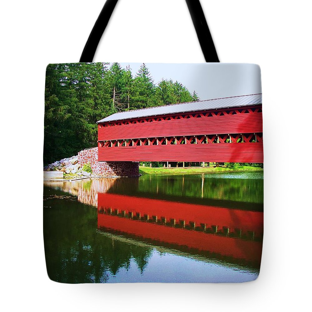 Sachs Bridge Tote Bag featuring the painting Sachs Bridge by Eric Schiabor