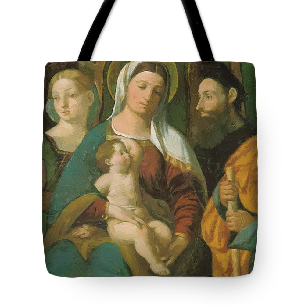 Sacra Tote Bag featuring the painting Sacra Conversazione 1520 by Dossi Dosso