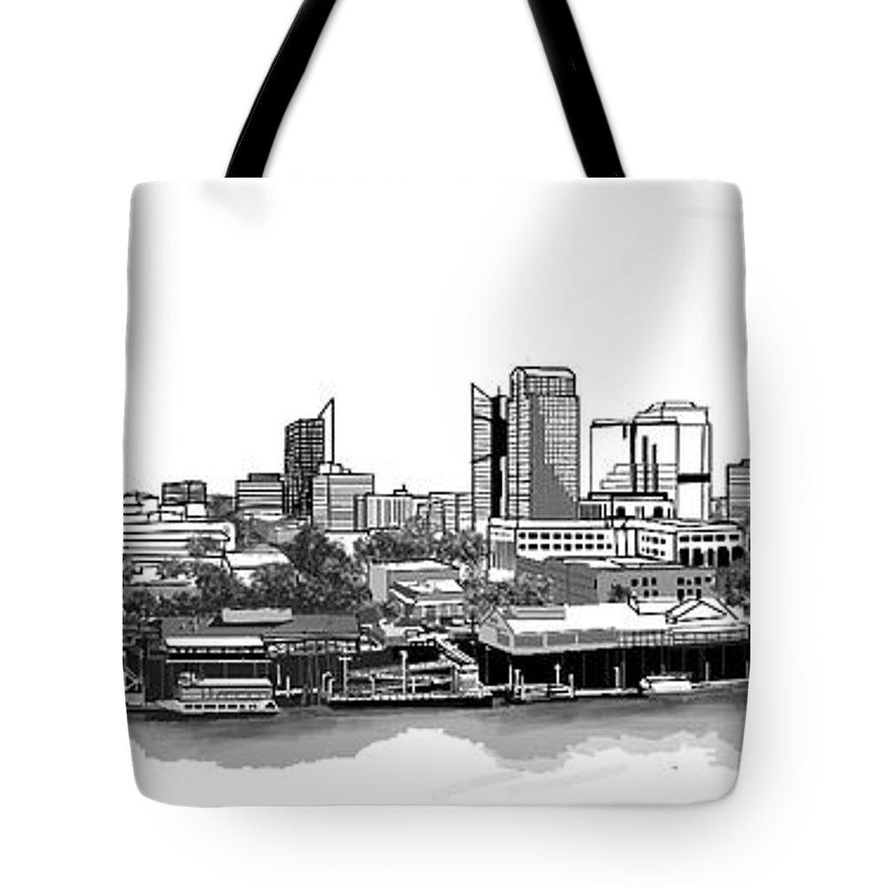 Sky. Landscape Tote Bag featuring the digital art Sacramento Skyline N. by Michael Schimank