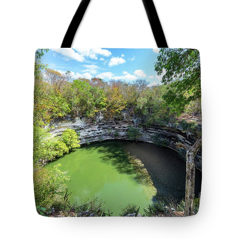 Cenote Tote Bag featuring the photograph Sacred Cenote In Chichen Itza by Jess Kraft