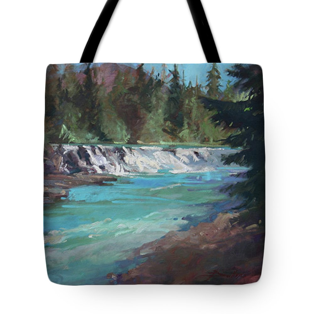 Glacier National Park Tote Bag featuring the painting Sacred Dancing Cascade by Betty Jean Billups