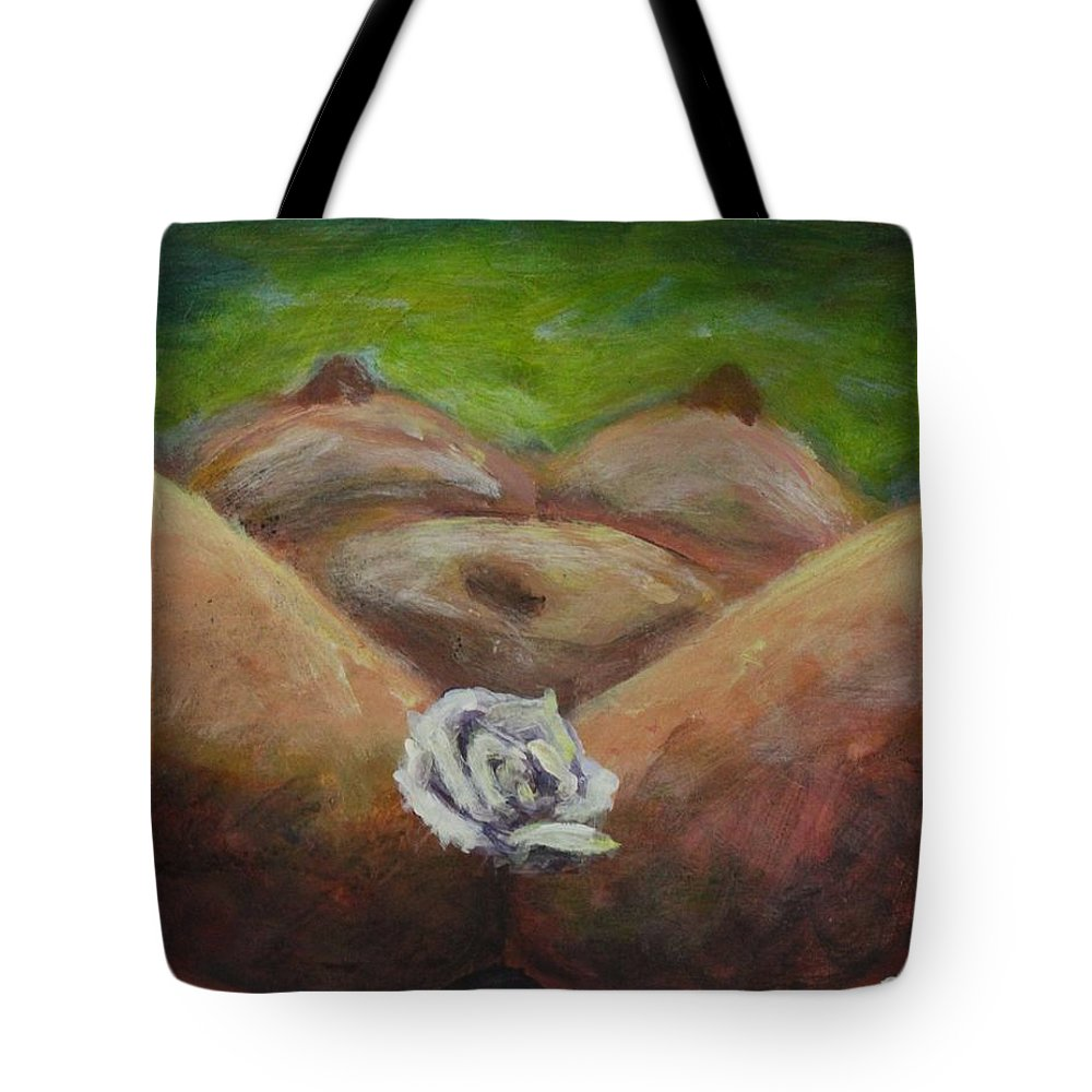 Woman Tote Bag featuring the painting Sacred Flower by Sonye Locksmith