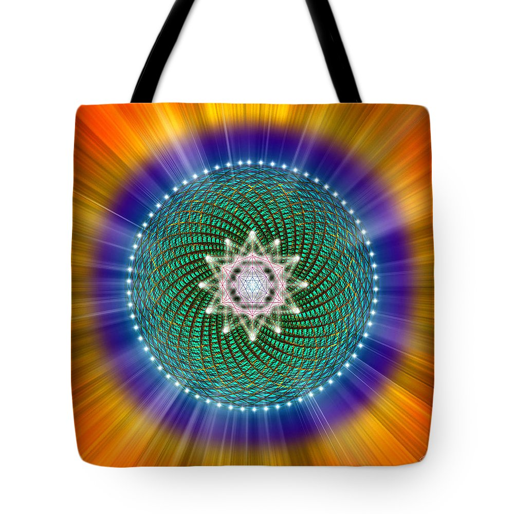 Endre Tote Bag featuring the digital art Sacred Geometry 102 by Endre Balogh