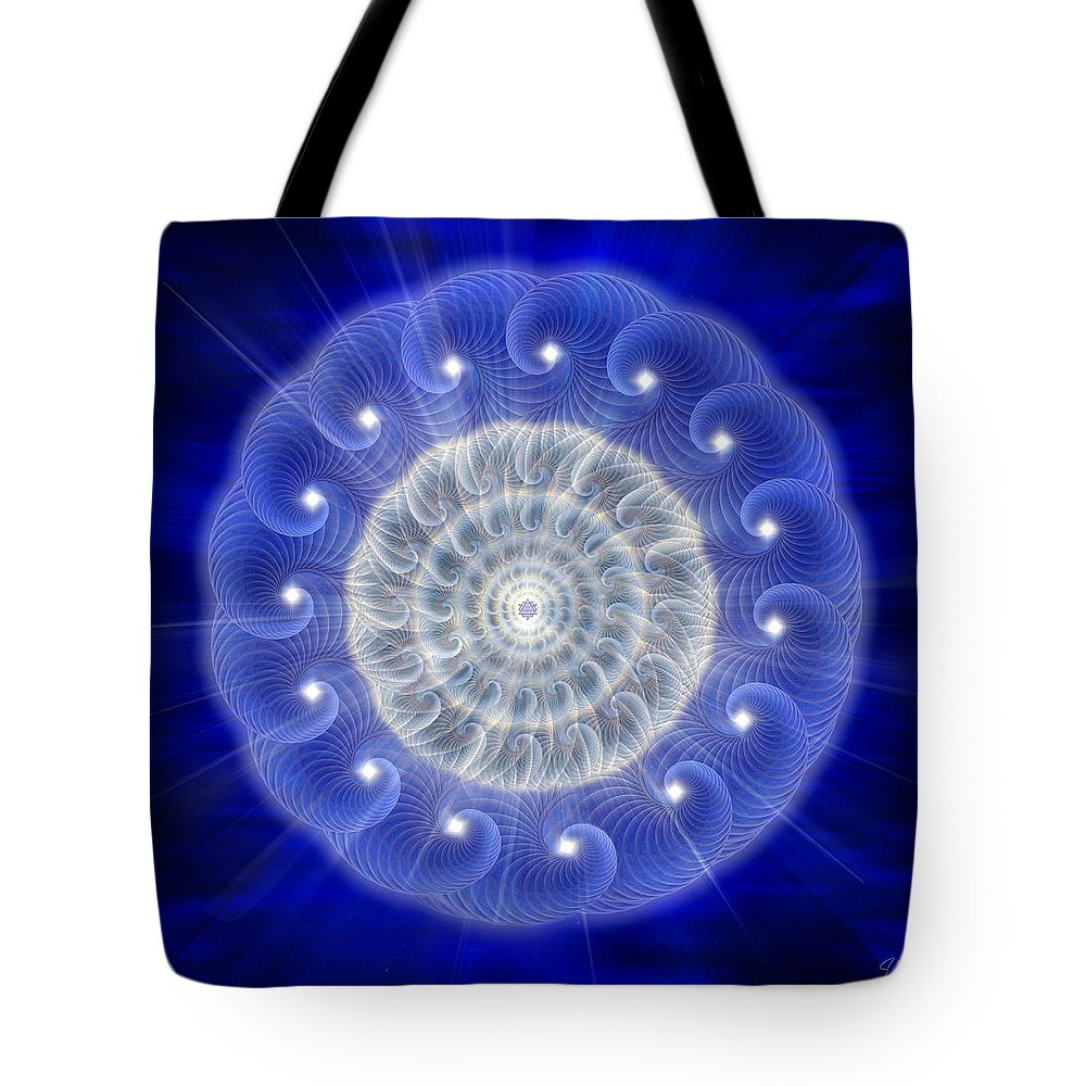 Endre Tote Bag featuring the digital art Sacred Geometry 77 by Endre Balogh