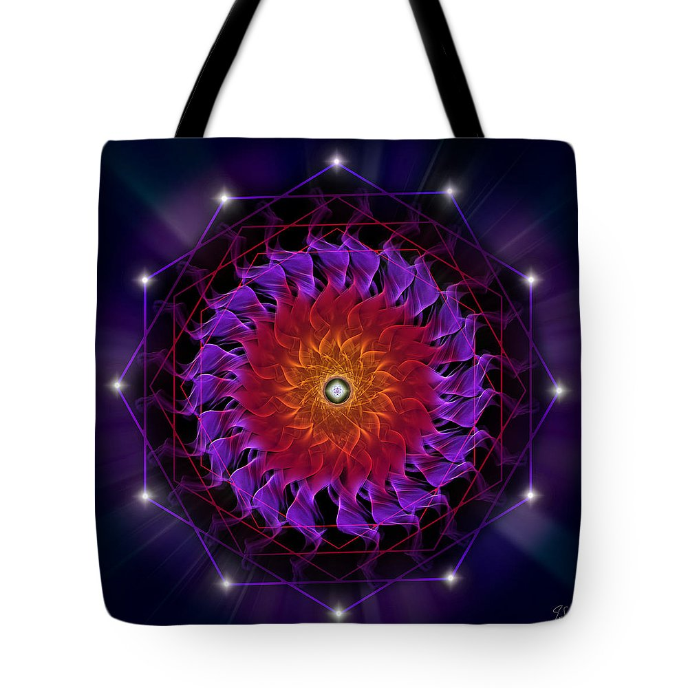 Endre Tote Bag featuring the digital art Sacred Geometry 81 by Endre Balogh