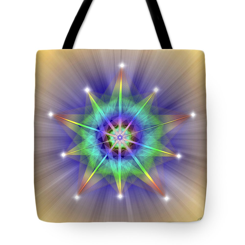 Endre Tote Bag featuring the digital art Sacred Geometry 83 by Endre Balogh