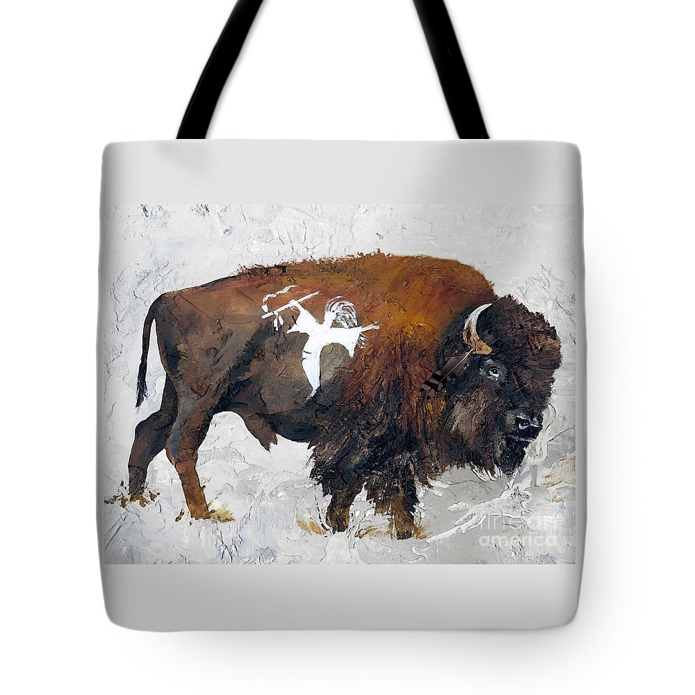 Southwest Art Tote Bag featuring the painting Sacred Gift by J W Baker