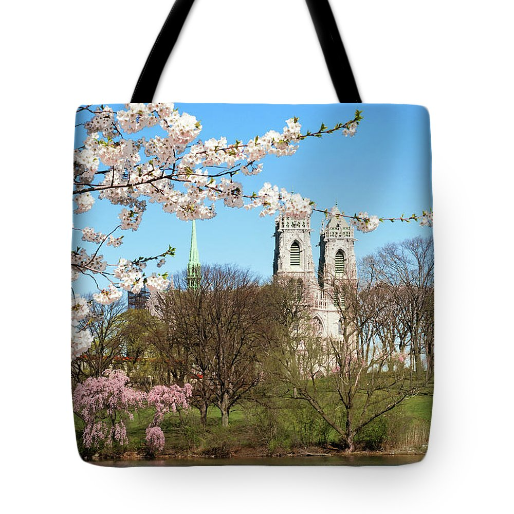 Branch Brook Park Cherry Blossoms 2013 Tote Bag featuring the photograph Sacred Heart And Branch Brook Cherry Blossoms by Regina Geoghan