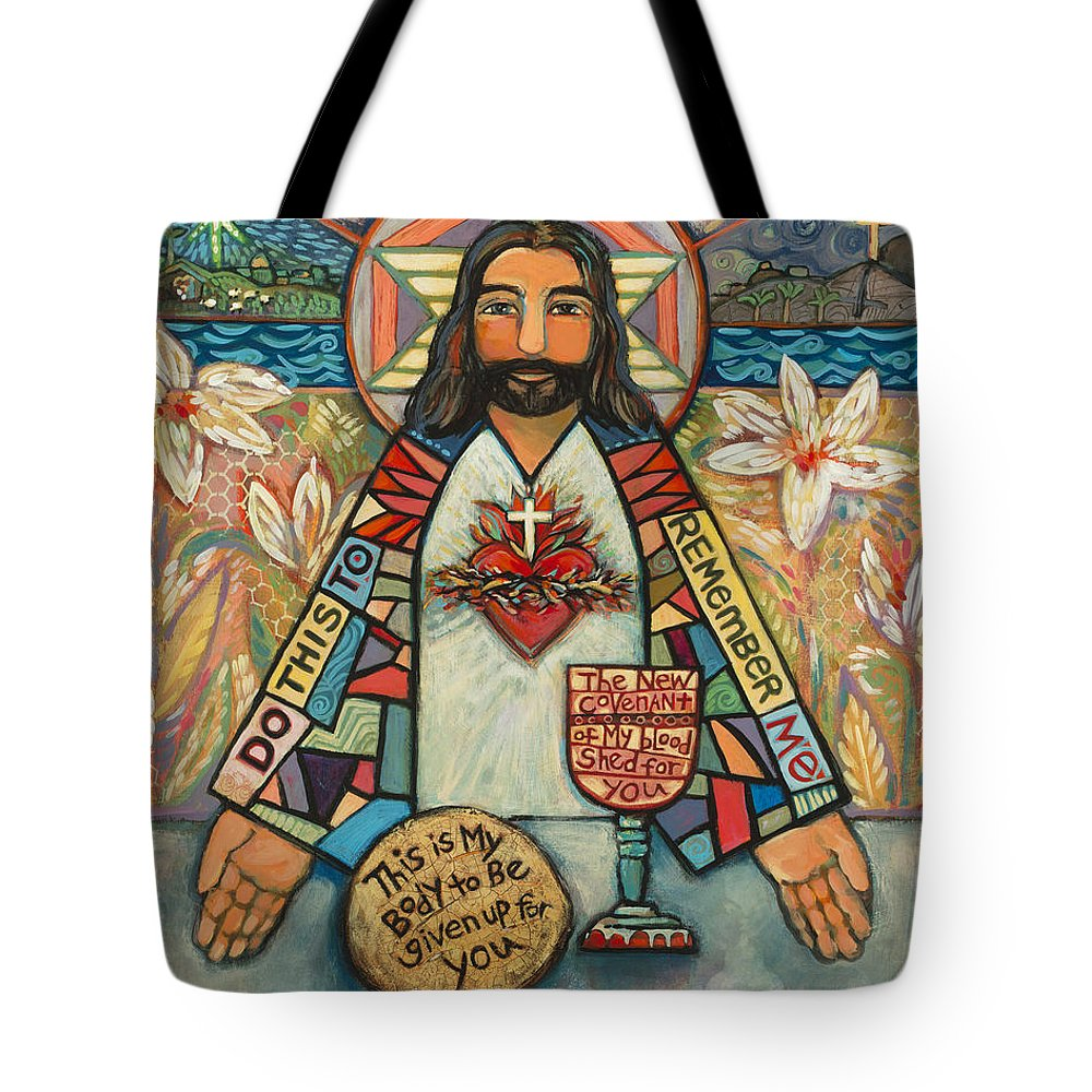 Jen Norton Tote Bag featuring the painting Sacred Heart Of Jesus by Jen Norton