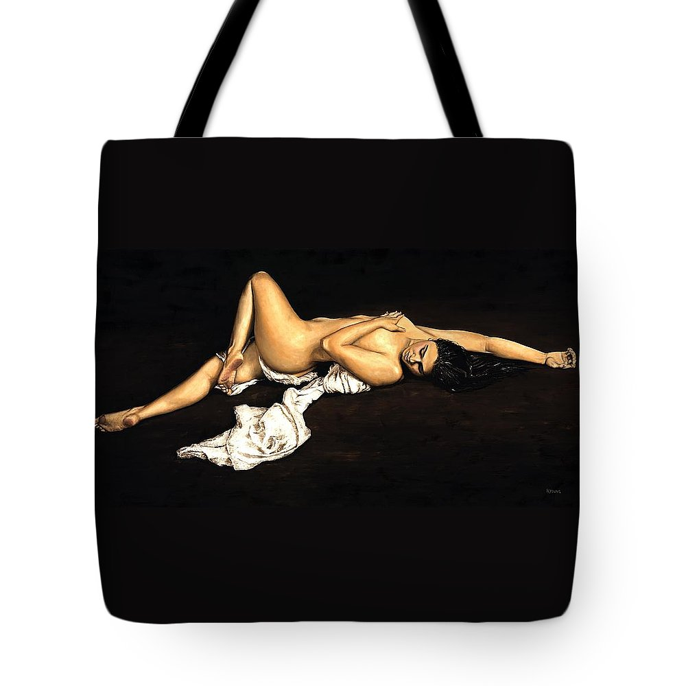 Nude Tote Bag featuring the painting Sacred by Richard Young