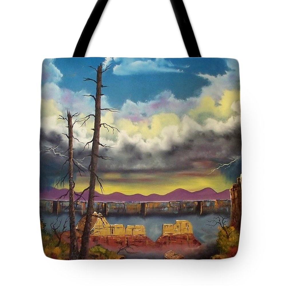 Painting Tote Bag featuring the painting Sacred View by Patrick Trotter