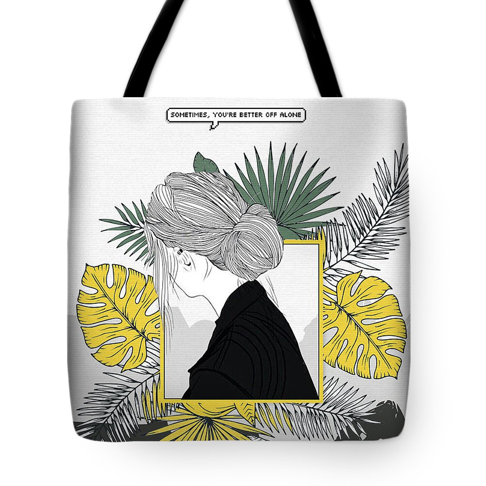 Girl Tote Bag featuring the digital art Sad Girl by Nuki Chikhladze