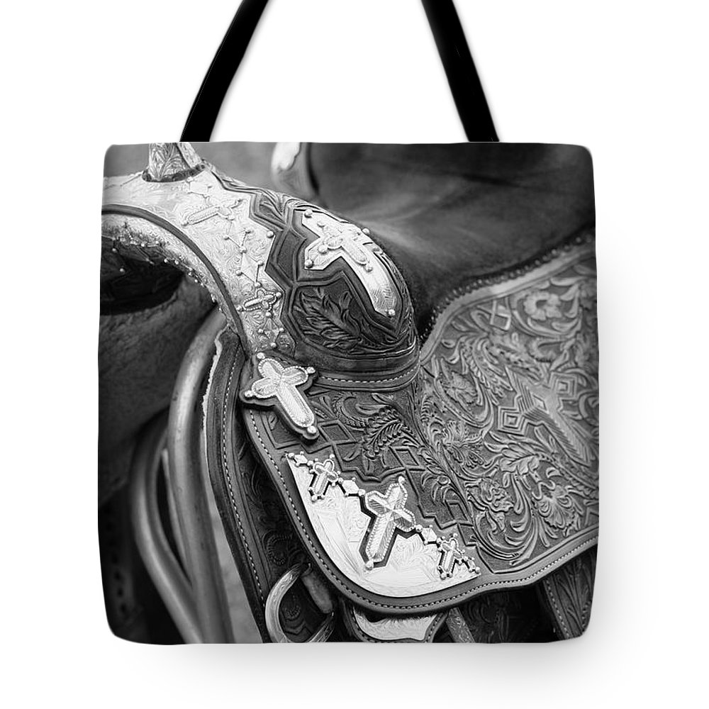 Americana Tote Bag featuring the photograph Saddle by Marilyn Hunt