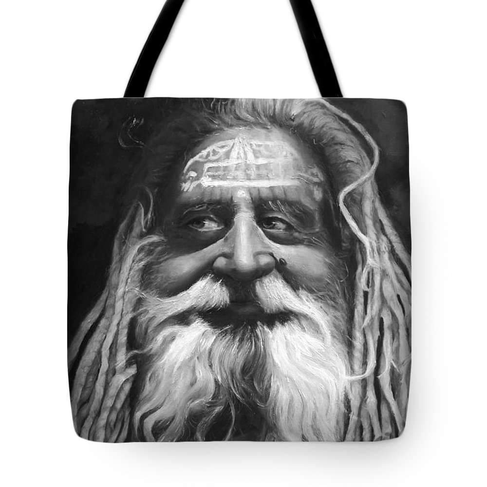 Sadhu Tote Bag featuring the painting Sadhu by Portraits By NC