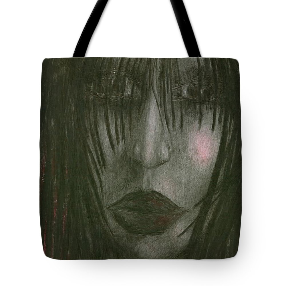 Psychedelic Tote Bag featuring the drawing Sadly Me by Wojtek Kowalski