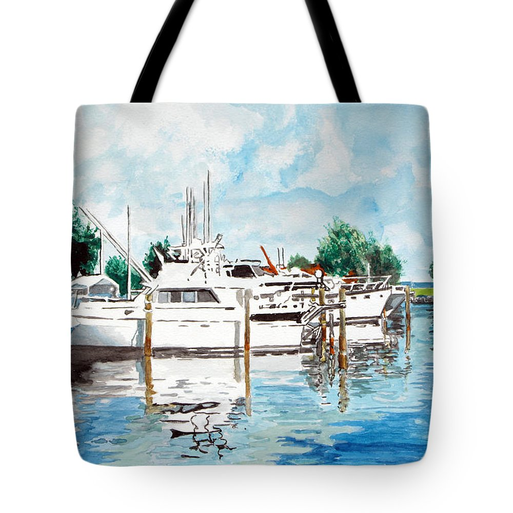 Boats Harbor Coastal Nautical Tote Bag featuring the painting Safe Harbor by Jim Phillips