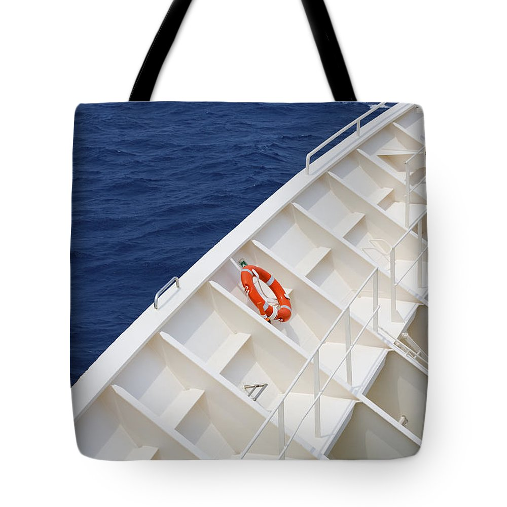 Life Belt Tote Bag featuring the photograph Safety At Sea by Diane Macdonald