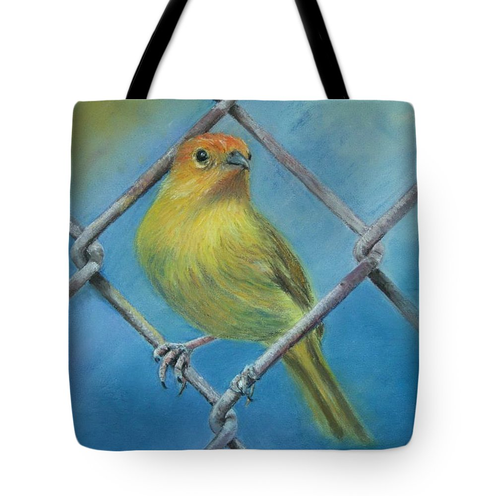 Bird Tote Bag featuring the painting Safron Finch by Ceci Watson